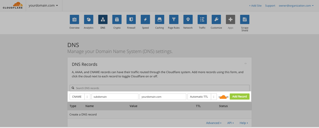 Add your domain to Cloudflare