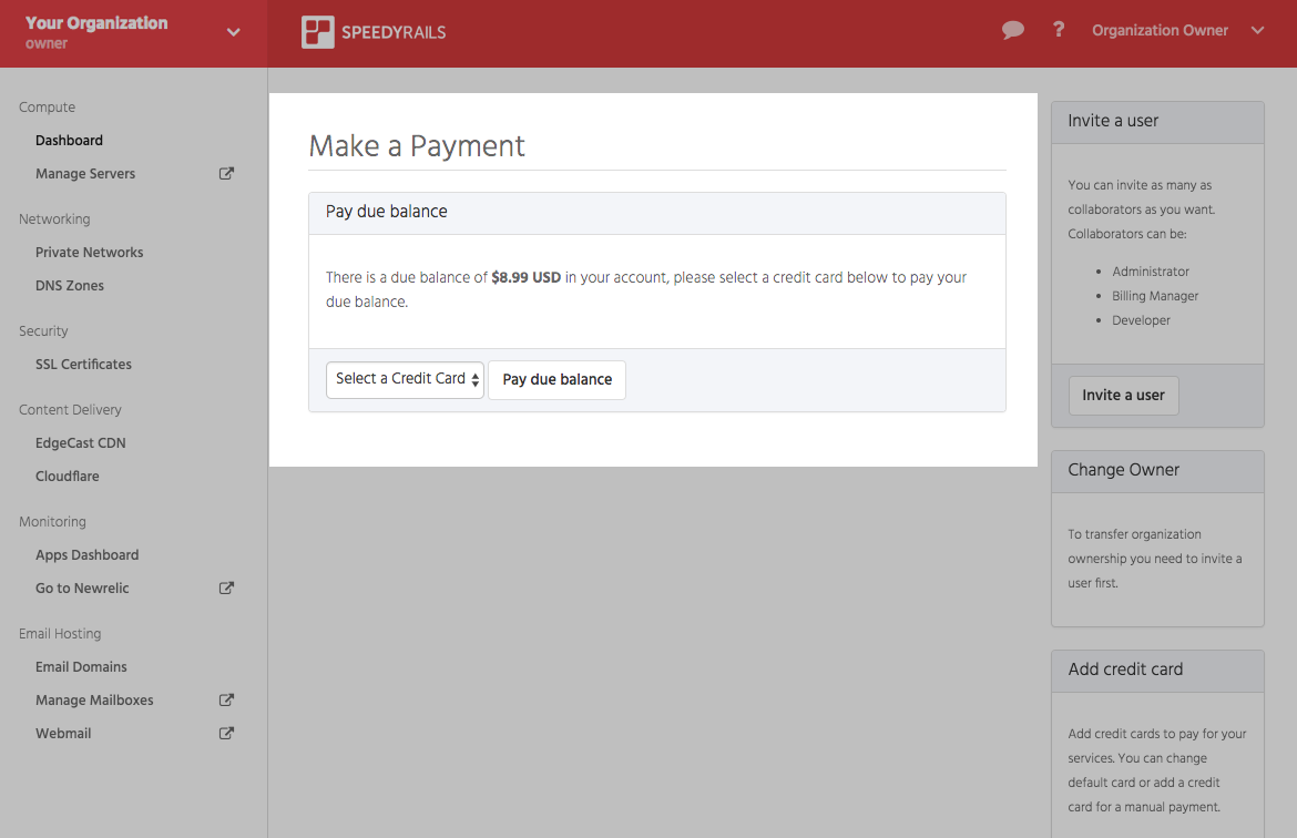 the make a payment menu